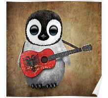 Baby Penguin Playing Albanian Flag Guitar Poster