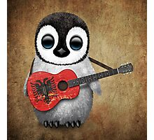 Baby Penguin Playing Albanian Flag Guitar Photographic Print