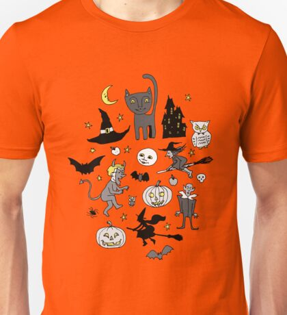 Retro Halloween - grey and turquoise Unisex T-Shirt