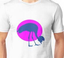 Blue emu or ostridge on pink sun Unisex T-Shirt