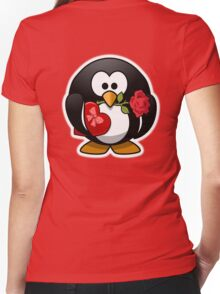 Valentine Penguin, Cartoon, Love Red Women's Fitted V-Neck T-Shirt