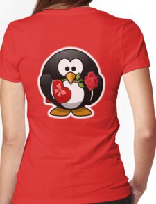 Penguin, Valentine, Cartoon, Love, Romance, Red Womens Fitted T-Shirt