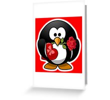 Valentine Penguin, Cartoon, Love Red Greeting Card