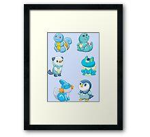 Pokemon Starters - Water Types Framed Print