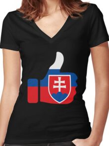 slovakia thumbs Women's Fitted V-Neck T-Shirt