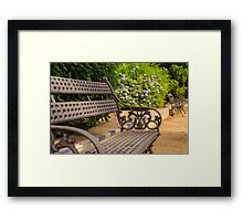 A bench in the park  Framed Print