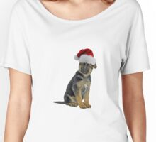 German Shepherd Puppy Santa Claus Merry Christmas Women's Relaxed Fit T-Shirt