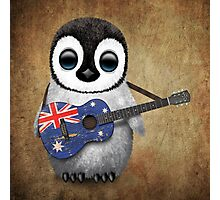 Baby Penguin Playing Australian Flag Guitar Photographic Print