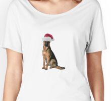 German Shepherd Santa Claus Merry Christmas Women's Relaxed Fit T-Shirt