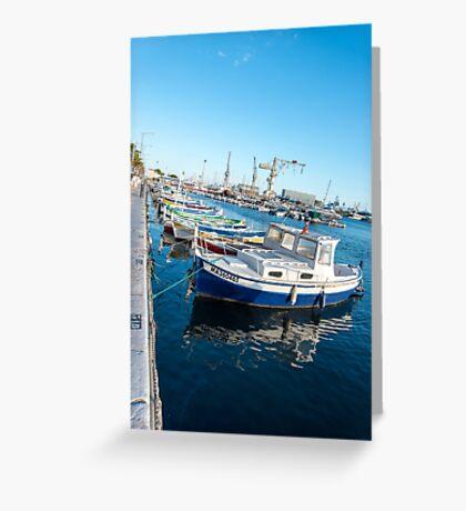 Fishing boats reflections La Ciotat harbour Greeting Card