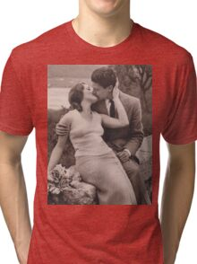 Vintage romance couple kissing Tri-blend T-Shirt