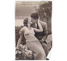 Vintage romance couple kissing Poster