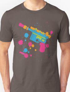 Han Solo Blaster Paint Splatter (Full Color) T-Shirt