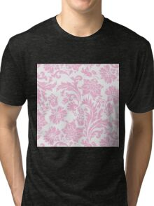 floral,pattern,pale pink,white,vintage,shabby chic, country chic, modern,trendy,girly,soft,feminine Tri-blend T-Shirt
