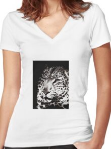 FAST AND FURIOUS BLACK AND WHITE LEOPARD Women's Fitted V-Neck T-Shirt