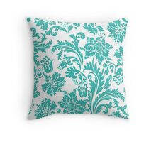 floral,pattern,green,white,vintage,shabby chic, country chic, modern,trendy,girly,soft,feminine Throw Pillow