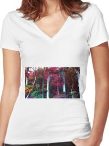 Psychedelic Forest IV Women's Fitted V-Neck T-Shirt