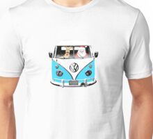 VW Camper Santa Father Christmas Bright Blue Unisex T-Shirt