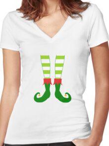Christmas Elf Feet Women's Fitted V-Neck T-Shirt
