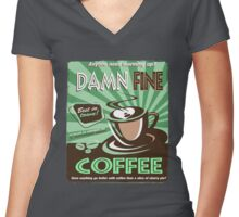 Damn Fine Coffee Women's Fitted V-Neck T-Shirt