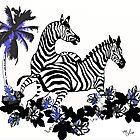 Zebras At Play by Saundra Myles