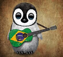 Baby Penguin Playing Brazilian Flag Guitar by Jeff Bartels