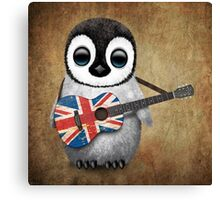 Baby Penguin Playing British Flag Guitar Canvas Print