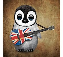 Baby Penguin Playing British Flag Guitar Photographic Print