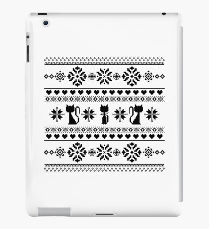 Cat Knit Pattern Black iPad Case/Skin