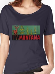Montana MT State Vintage Travel Decal Women's Relaxed Fit T-Shirt