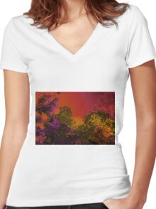Psychedelic Forest V Women's Fitted V-Neck T-Shirt