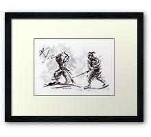 Samurai Battle Katana Sword Large Painting Framed Print