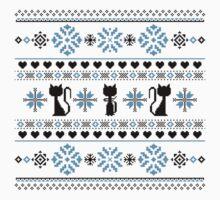 Cat Knit Pattern Blue Kids Tee