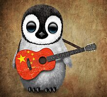 Baby Penguin Playing Chinese Flag Guitar by Jeff Bartels