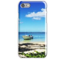 Man Standing On Beach Next To Boat iPhone Case/Skin