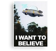 I WANT TO BELIEVE - Rick and Morty Ship Canvas Print