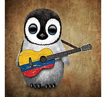 Baby Penguin Playing Colombian Flag Guitar Photographic Print