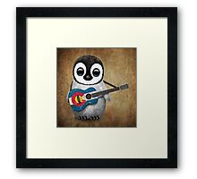 Baby Penguin Playing Colorado Flag Guitar Framed Print