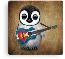 Baby Penguin Playing Colorado Flag Guitar Canvas Print