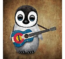 Baby Penguin Playing Colorado Flag Guitar Photographic Print