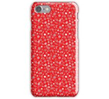 White 3D Snow Storm on Christmas Red iPhone Case/Skin