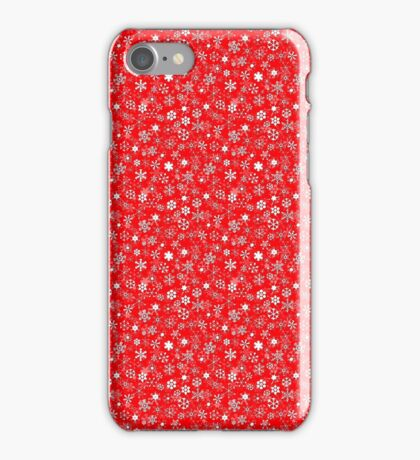 White 3D Drop Shadow Snow Storm Christmas Snowflakes Repeat Pattern on Christmas Red iPhone Case/Skin