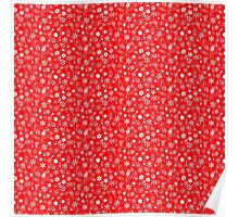 White 3D Snow Storm on Christmas Red Poster