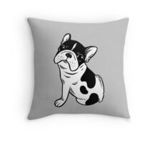 Brindle Pied Frenchie Puppy Throw Pillow