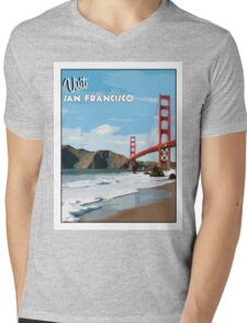 Vintage San Francisco Travel Poster Mens V-Neck T-Shirt