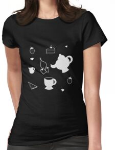 Strawberry Tea Party : Teapot Teacup Design Womens Fitted T-Shirt