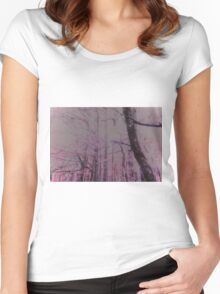 The Pink Puff Forest Women's Fitted Scoop T-Shirt