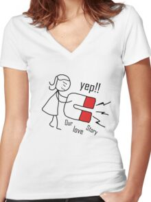 """our love story """"design couple"""" Women's Fitted V-Neck T-Shirt"""
