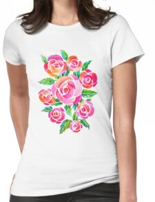 watercolor vintage roses Womens Fitted T-Shirt