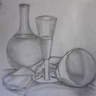 Still LIfe - Glass Bottle and Bowl by Karen Gingell